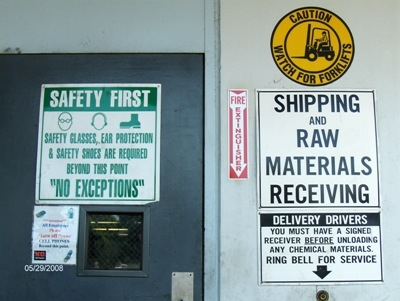 Signs at dock